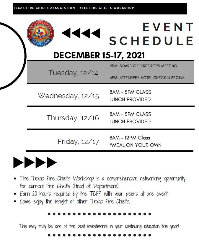 workshop schedule graphic